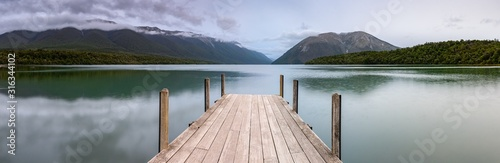 Landscape photo of a jetty on Lake Rotoiti, New Zealand. This jetty is within the  Nelson Lakes National Park and is one of the most Instagrammed locations in New Zealand - 316344102