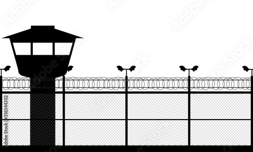 Fototapeta Prison tower, checkpoint, protection territory, watchtower, state border,military base