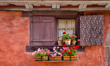 Window With Shutters And Flowe...