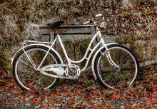Old, Abandoned, White Bicycle