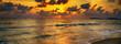 canvas print picture - sun rays sunset sea