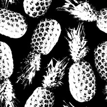 Pineapple Seamless Pattern. Tropical Background. Contemporary Fruit Design. Trendy Print. Modern Stylish Texture. Black And White Pattern. Summer Illustration With Hand Drawn Pineapple