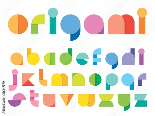 Photo Ludic children paper fold (origami) style vector typeface