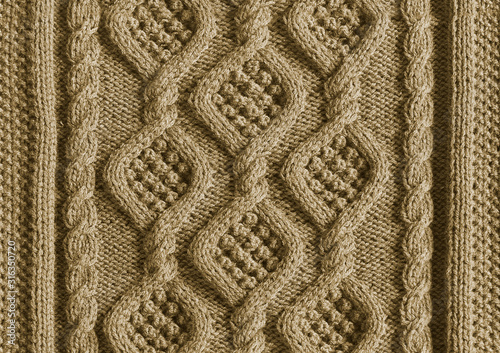 Photo background texture knitted canvas with patterns Aran close up beige color