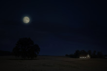 Moon Over Field Of Stubble At ...
