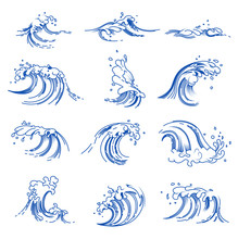 Waves Isolated Icons, Sea Or O...