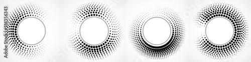Fotografía Vector set of halftone dotted background in circle form