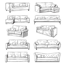 Sketch Of Sofas Isolated On White Background. Vector