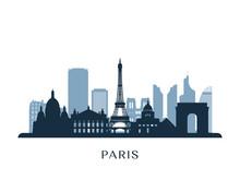 Paris Skyline, Monochrome Silh...