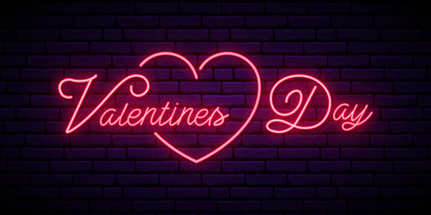 Valentine's Day neon signboard. Festive vector banner with pink color lettering. Vector greeting banner.