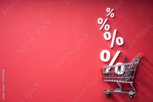 Fotomural Sale Percents Falling Into Shopping Cart