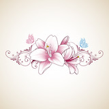 Floral abstract background frame with hand-drawn lily flowers and butterfly. Element for invitations, greetings, cards.