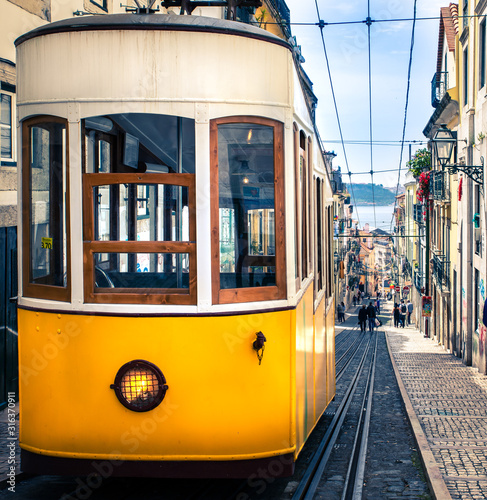 Lisbon's Gloria funicular connects downtown with Bairro Alto. Canvas Print