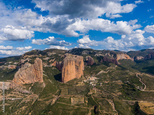 Aerial view of the Mallos de Riglos, a set of conglomerate rock formations in Sp Tapéta, Fotótapéta
