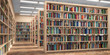 canvas print picture - Library. Bookshelves with books and textbooks. Learning and education concept.