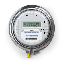 Digital Electric Meter With Lcd Screen Isolated On White. Electricity Consumption Concept.