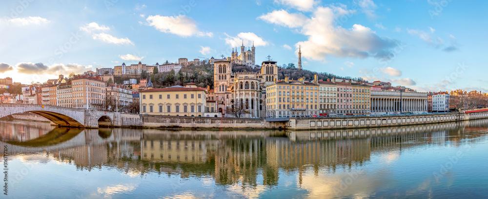 Fototapeta Cathedral Saint Jean and Basilica Notre-Dame de Fourviere, iconic symbols of Lyon, Rhone, France
