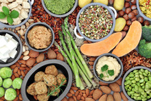 Vegan Health Food For Ethical Eating Concept With Tofu Falafel Balls, Fruit, Vegetables, Nuts Grains & Seeds High In Protein, Vitamins, Minerals, Omega 3, Antioxidants, Smart Carbs & Fibre. Flat Lay.
