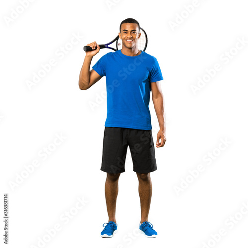 Fototapeta Full-length shot of African American tennis player man over isolated white background obraz