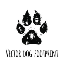 Vector Black Pet Dog Grunged Footprint Paw Mark Silhouette Drawing Sign Illustration Isolated On White Background.T Shirt Print Design.Sticker.