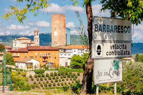 Barbaresco village and vineyards, Unesco Site, Piedmont, Northern Italy Canvas Print