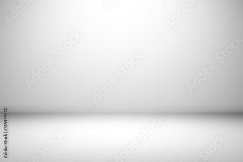 Fototapeta Abstract empty white and gray gradient soft light background of studio room for art work design. obraz
