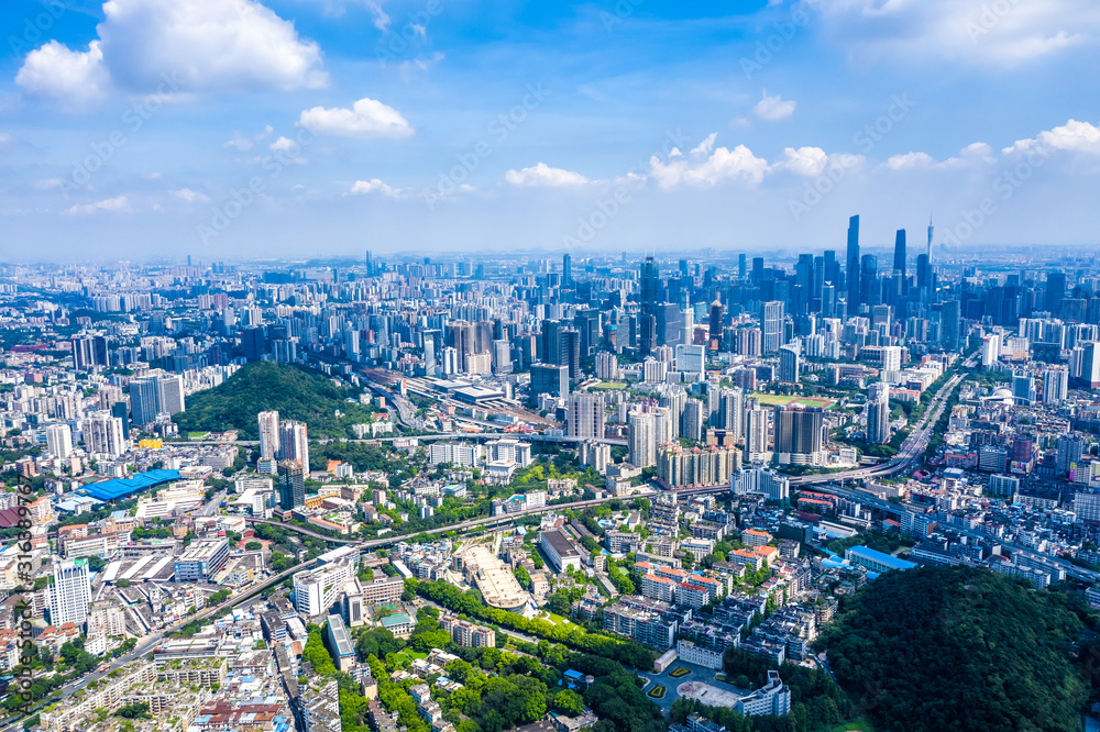 Fototapeta overlooking city of Guangzhou in China
