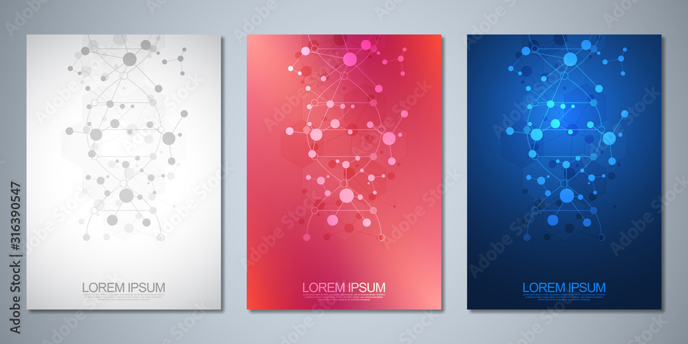 Fototapeta Vector template for cover or brochure, with molecules background and DNA strand. Medical or scientific and technological concept.