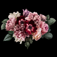 Dark Pink Peony, White Roses, Red Anemone, Purple Tulip Isolated On Black Background. Floral Arrangement, Bouquet Of Garden Flowers. Can Be Used For Wedding Invitations, Greeting Card.