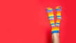 canvas print picture - Legs in funny socks on bright red background