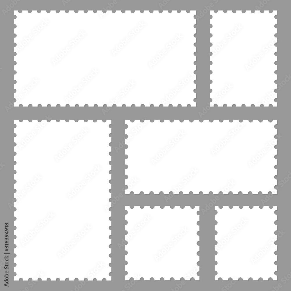 Fototapeta Blank set postage stamps collection. Vector illustration