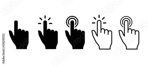 Vector hand cursors icons click set Canvas Print