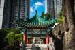 Leinwanddruck Bild - Traditional Chinese Architecture in Good Wish Garden, Wong Tai Sin Temple in Hong Kong