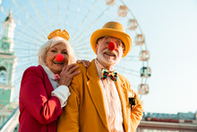 Funny Senior Couple In Clown N...