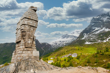 Stone Eagle At The Simplon Pass On The Swiss Italian Border In Commemoration Of World War II