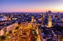 Sightseeing Of Spain. Aerial View Of Valencia At Sunset. Illuminated Plaza De La Reina, Cityscape Of Valencia.