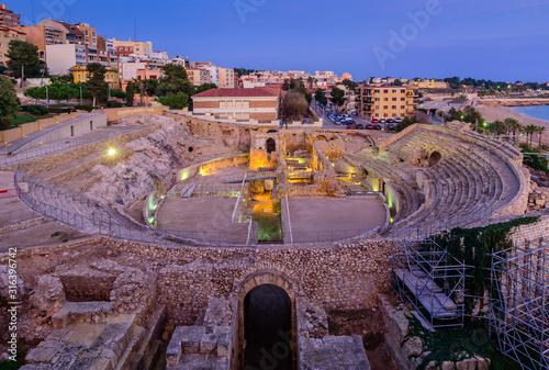 Sightseeing of Spain. Amphitheater in Tarragona, roman ruins at sunset, Tarragona, Catalonia region, Spain