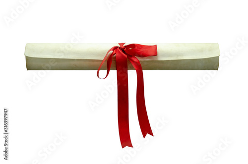 Diploma scroll with red bow on isolated white background Wallpaper Mural
