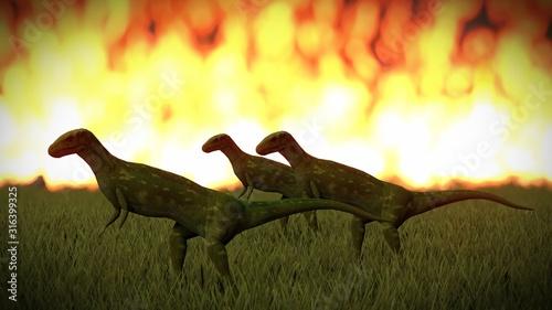 Stampa su Tela Dinosaur doomsday coming on 3d rendering