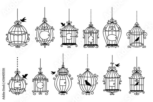 Set of hand drawn wedding birdcage collections Wallpaper Mural