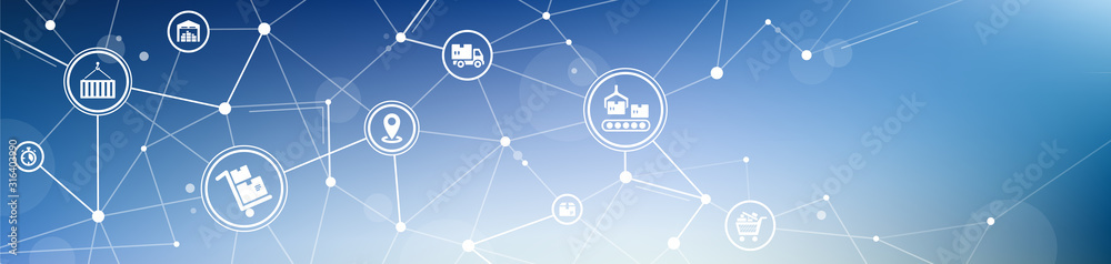 Fototapeta logistic and supply chain vector illustration. Abstract blue background with connected transportation, logistics industry or distribution icons.
