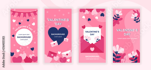 Fototapeta Valentines Day social media stories design templates vector set, backgrounds with copyspace - romantic holiday - backdrop for vertical banner, poster, greeting card - congratulation concept obraz