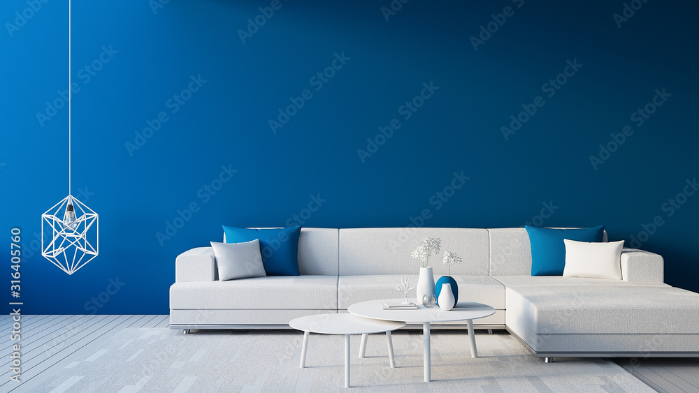 Fototapeta Classic Blue Interior / Color of The Year for living and interior / 3D rendering