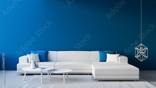 Fototapety, obrazy: Classic Blue Interior / Color of The Year for living and interior / 3D rendering