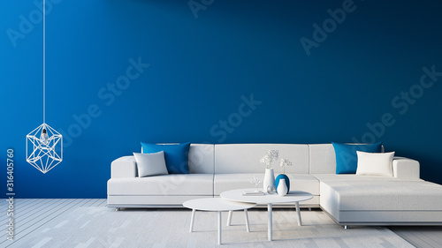 Fotografie, Tablou Classic Blue Interior / Color of The Year for living and interior / 3D rendering