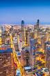 canvas print picture - Chicago, IL, USA Aerial Cityscape at Twilight