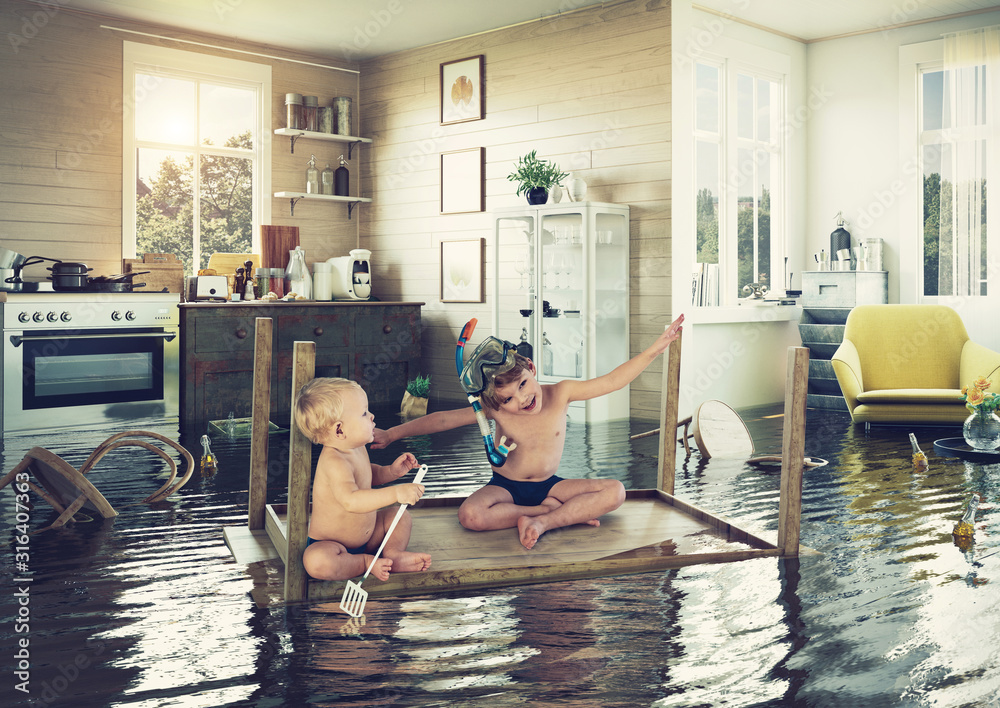Fototapeta kids and flooding