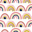 Rainbow cut out paper abstract modern shapes seamless pattern. Hand drawn scallop archs repeat background for wrap, textile and print design.