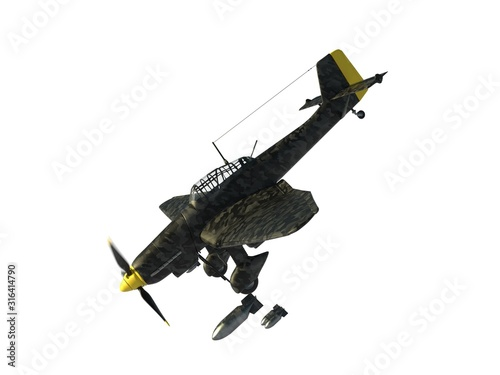 Slika na platnu 3D rendering of a world war two german dive bomber diving.