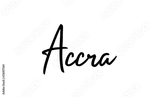 Photo Accra capital word city typography hand written text modern calligraphy letterin